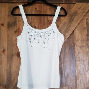 WHBM Jewelled Blingy Dressy White Top